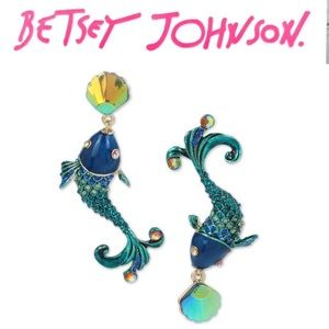 Betsey Johnson Blue Crystal Fish Earrings